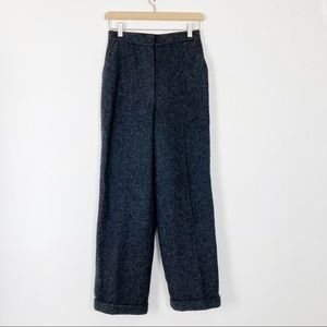 Vintage high waisted wool wide leg trousers black